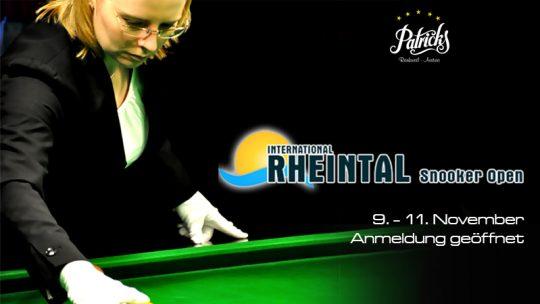 Anmeldung zum Rheintal Snooker Open ist geöffnet!
